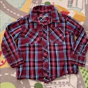 Boys Maroon Plaid Button Up Long Sleeve Sprockets